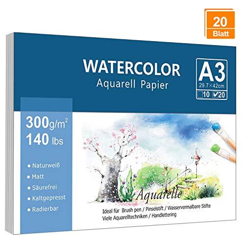 Premium Aquarellpapier (A3, 300 g/m², 20 Blatt), Lelengder Aquarellblock Glatt Watercolor Paper, Strukturiert & Matt Aquarell Papier für Aquarellmalerei Wasserfarben Gouache Acryl & Aquarelltechniken