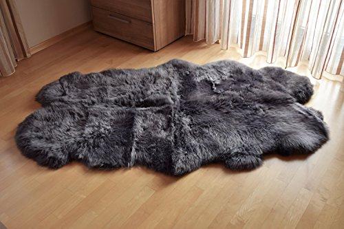 Naturasan Lammfell Schaffell Quadro aus 4 Fellen ca. 180×100 cm, Quadro, Grau - 3