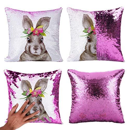 Yookstar - Funda de cojín con diseño de conejos, 45 x 45 cm, color morado