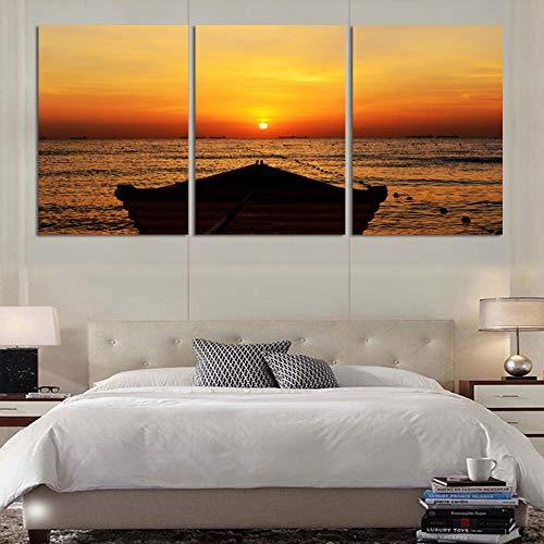 wekeke Cuadros de la Lona Seaview con la Pintura de la impresión de la Lona del Barco para la decoración de la Imagen del Arte de la Pared de la Sala de Estar Home-50X70Cmx3 Piezas sin Marco