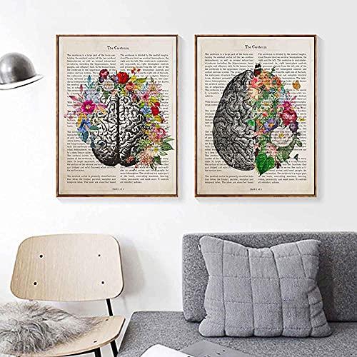 ZLARGEW Cerebro Arte Flor Anatomía Impresión Psicología Neurólogo Médico Regalo Cartel médico Arte de la Pared Pintura en Lienzo Clínica Decoración del hogar / 30x40cmx2 Sin Marco