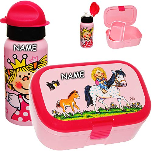 alles-meine.de GmbH 2 TLG. Set _ Lunchbox / Brotdose & Trinkflasche -  Pferde & Prinzessin  - inkl. Name - BPA frei - mit extra Einsatz / herausnehmbaren Fach - Brotbüchse Küch..