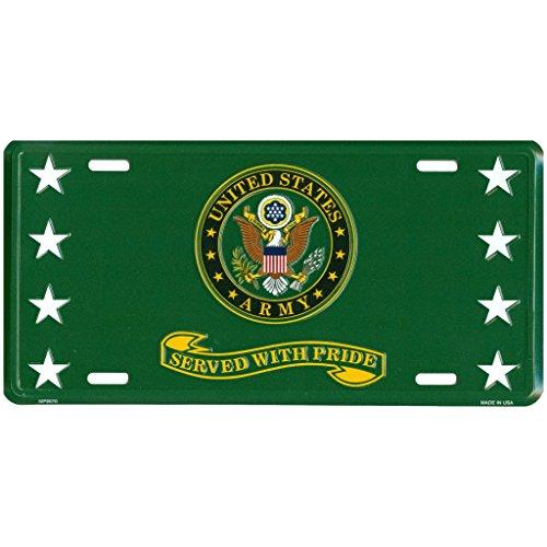 Placa de matrícula frontal de metal del ejército de los Estados Unidos, sirve con orgullo para veteranos jubilados, 6 x 12 pulgadas,...
