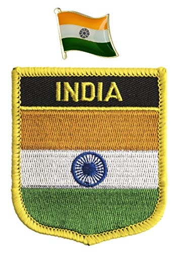Vlag van India Geborduurd naaien op Iron on Patch met Emaille Metal pin Badge
