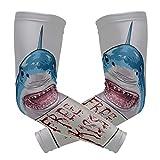 ENEVOTX - Funda deportiva para brazo de tiburones con texto en inglés 'Bloody Free Kiss Sign' (seda de hielo) para mujer, manga de brazo para mujer, secado rápido y transpirable, mangas UV para cubrir brazos, unisex, 2 unidades