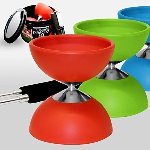 """Diabolo ✓ """"The Ultimate Set Sticks with String ✓ Extra String ✓ Online Video - Designed and Tested by """"Mister M"""" (Red)"""