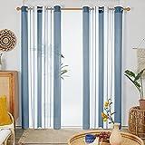 Deconovo Cortinas Habitación Juventil, Decorativas Visillos de Diseño Moderno, con Ojales, 140x240cm(Ancho x Alto), Azul Claro, 2 Piezas