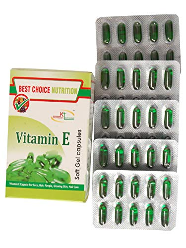 Best Choice Nutrition Glow Face Hair Pimple Glowing Skin Nail Care Vitamin E 400 Capsule - Pack of 50