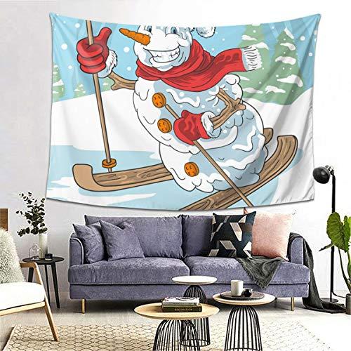 bneegxg Tapestries Décor Picnic Mat Winter Ski Snow Ball Santa Claus Christmas for Bedroom Dorm Decor 39.4(H) X59.1(W)