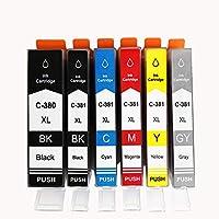 キャノンBCI-381+380/6MP 大容量 6色マルチパック Canon 互換 インク カートリッジ BCI-381(BK/C/M/Y/PB)+380XL ICチップ/残量検知 対応機種: PIXUS TS8130 TS6130 TR8530 TR7530 TS8230 TS6230 TR9530