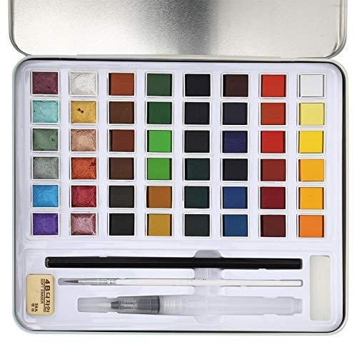 Juego de pintura de acuarela sólida, para artistas principiantes y profesionales (48 colores)