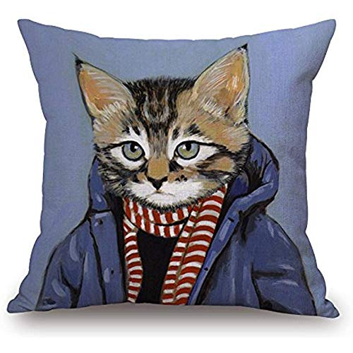Mesllings Kitty Cat Fashion Show Pattern Blend Square Toss Pillowcase Cushion Cover Pillow Case with Hidden Zipper Closure 45x45cm