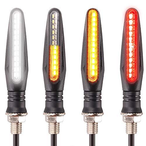 [Nueva versión] Kinstecks 4PCS Indicadores de motocicletas Luces de señal de giro que fluyen Indicadores de giro de motocicleta Luces de circulación diurna Luces de freno
