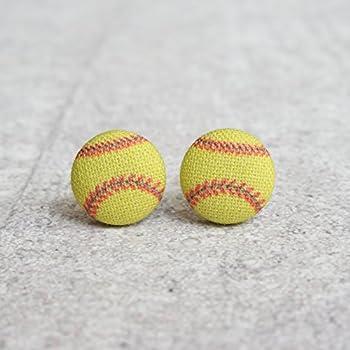 Softball Fabric Button Earrings