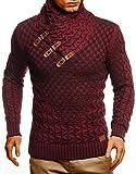 Leif Nelson Herren Pullover Pulli Strickpullover mit Schalkragen Winterpullover Slim Fit Bordeaux Rot Medium