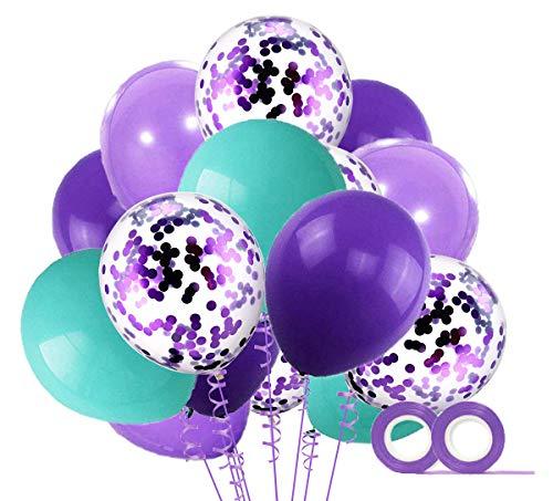 MAKFORT 60 Stück Violett und Blauesgrün Luftballons mit Konfetti Ballons Lila und 2XLuftschlangen Helium Ballons für Hochzeit Geburstagsdeko Mädchen Meerjungfrau Party Babyparty Dekoration