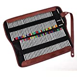Cobee Federmäppchen Stiftrolle Rollmäppchen mit 72 Löchern Leder Mäppchen Pencilcase Stiftsammler für Buntstifte Bleistifte Schule Kunst