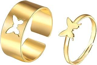 JAWSEU Fjärilsringar för par, matchande fjärilsälskare parringar förlovning löfte ringar smycken gåva för bröllopsdag föde...