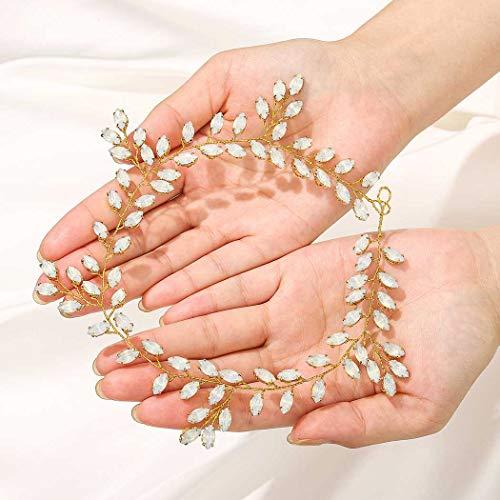 IYOU Accessori per capelli da sposa con fascia per capelli da sposa in argento con strass scintillanti Accessori per capelli per donne e ragazze (oro)