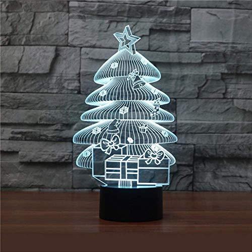 Groothandel Led-nachtlampje, kerstboom, 3D-lamp, 7 kleuren, aanraking voor de kinderkamer, licht, cadeau, tafellamp