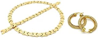 Womens 14k Gold Finish Wide Hugs & Kisses Necklace Bracelet and Earring Set with Iced Out Filigree Hoop Earrings
