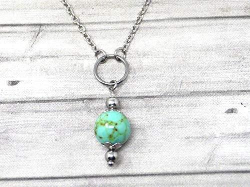 Gargantilla de mujer en acero inoxidable con anillos y cuentas de turquesa reconstituidas azules