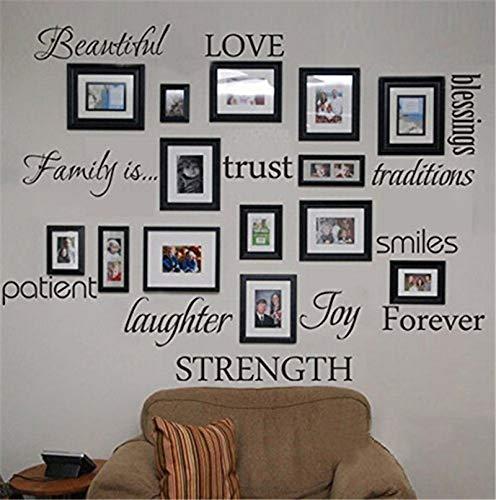 Famille Bénédiction Amour Patient Joie Sourire Citations Noir Photo Cadre Wall Sticker Salon Chambre Décor À La Maison Mural Decal Art
