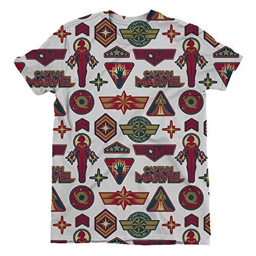 Captain Marvel Classic Logo's Children's Unisex White Sublimation T-Shirt