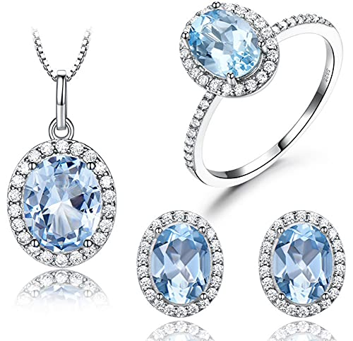 CHXISHOP 925 joyería de plata esterlina conjunto de moda cielo azul topacio piedra collar pendientes anillo tres piezas joyería azul-10 #