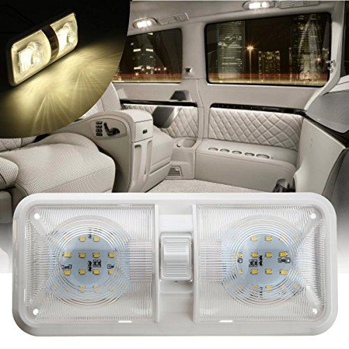 Masunn 12V 48LED 2835 SMD Interior Dubbele Dome plafondlamp schakelaar voor RV Boat Camper Trailer