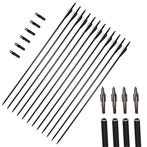 12 paquetes de 31 pulgadas flechas carbón tiro con arco espina 550 orientación Broadhead reemplazable Nock giratorio para la búsqueda lazo recurrente recurrente compuesto conjunto tiro al aire libre