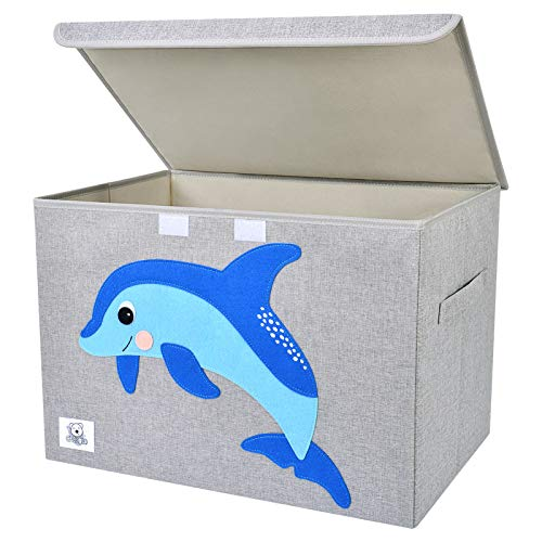 CLCROBD Foldable Large Kids Toy Chest with Flip-Top Lid, Collapsible Fabric Animal Toy Storage Organizer/Bin/Box/Basket/Trunk for Toddler, Children and Baby Nursery (Dolphine)