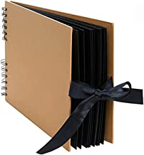 fang zhou 40 ark kartong klippbok pappersalbum, vintage klippbok – 360 graders metallring självhäftande design, används fö...