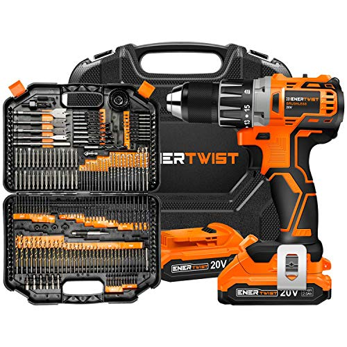 EnerTwist 20V Max Cordless Brushless Drill Driver and 246-Pieces Drill Bits and Driver Set Combo Kit