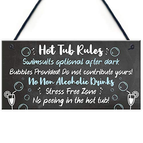 RED OCEAN HOT TUB RULES Sign Hot Tub Signs And Plaques Shed Sign Summer House Plaque Home Decor Gift