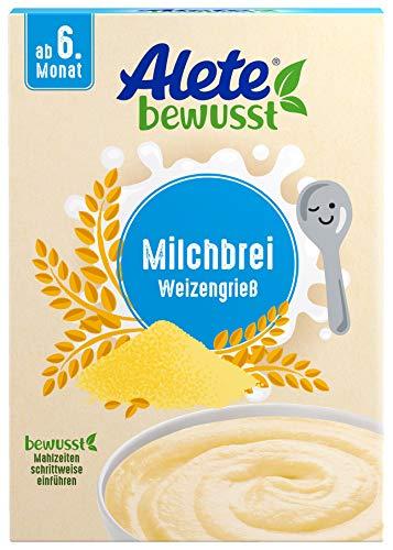 Alete bewusst Milchbrei Babybrei mit Weizengrieß, ohne Palmöl, ab dem 6 Monat, 400 g