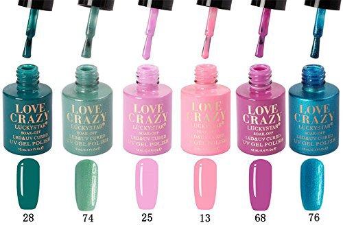 Cris Nails Esmalte LoveCrazy de Uñas Semipermanente Uñas de Gel permanente UV LED Kit de Manicura con Base Coat Top Coat (Kit004)