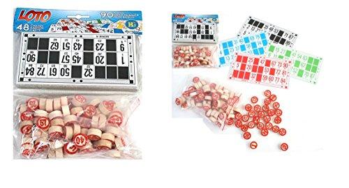 LOTO 90 pions en bois 48 cartes multicolore - Jeu Kermesse Tirage - 212
