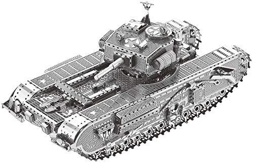 Playtastic Metallbausatz: 3D-Bausatz Panzer aus Metall im Maßstab 1:100, 48-teilig (Metal-Puzzle)