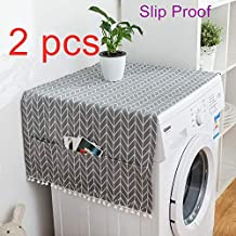 Washer And Dryer Top Covers, Fridge Dust Cover, Washing Machine Top Cover Front Load, With 6 Storage Bags And Slip Proof(2 Pcs)