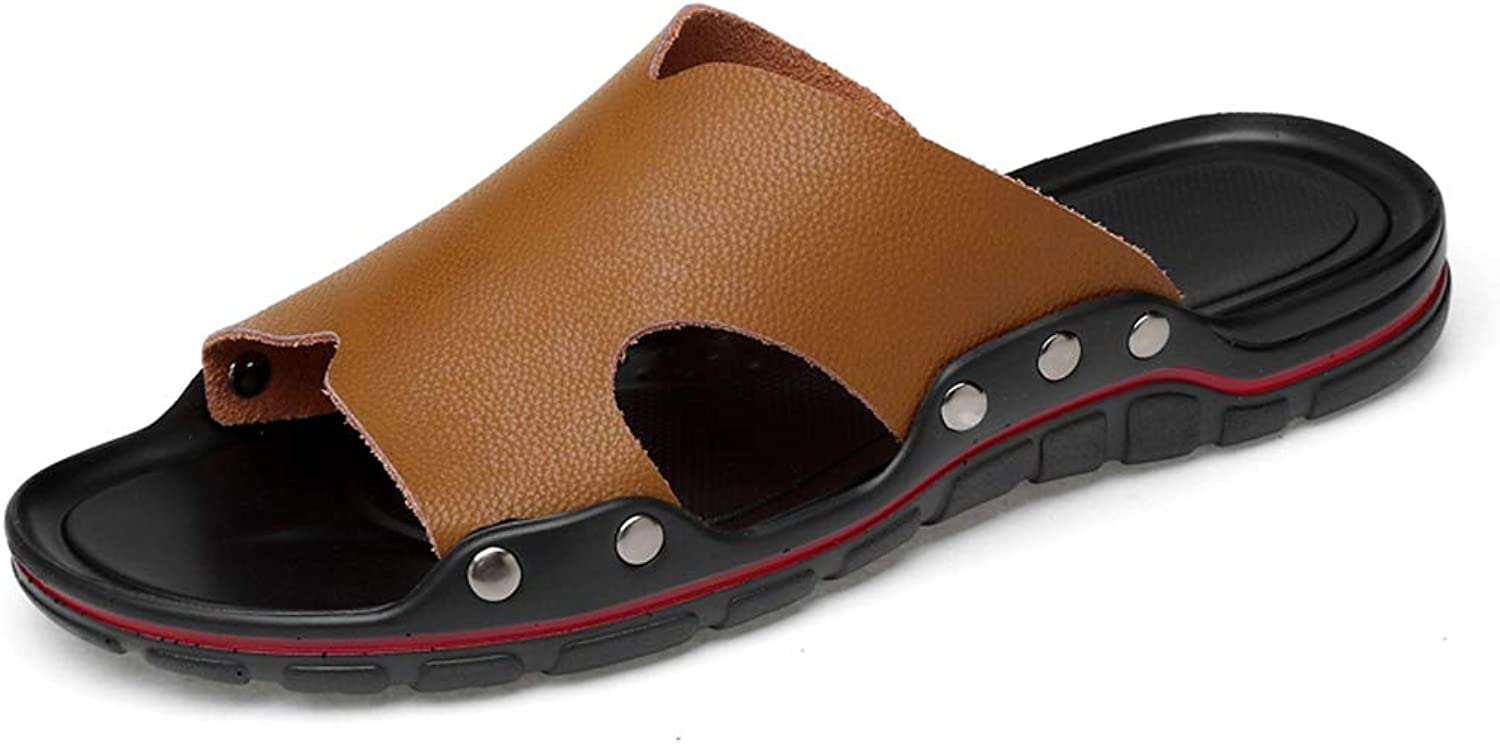 QAR Brown Leather Slippers Men's Summer Fashion Non-slip Slippers Outdoor Casual Beach shoes flip flop (color   BROWN, Size   44)
