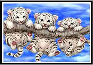 Paintings Cute Tree Three Tiger Round Diamond Painting Embroidery Mosaic Home Decoration Pattern DIY Handmade LZHCUICAN (C...
