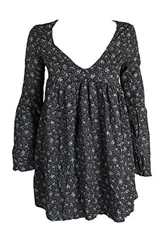 Ralph Lauren Denim & Supply Damen Tunika-Kleid mit Blumenmuster und Glockenärmeln -  Schwarz -  Mittel