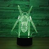 Regalos para las mujeres araña modelo ilusión 3D luz 7 color cambiante led USB noche luz bebé dormir lampara creativo regalo erjie
