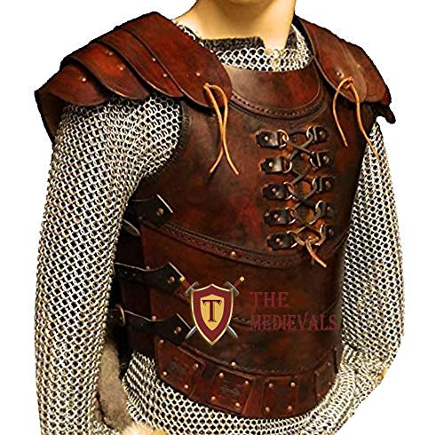 The Medieval Shop Genuine Leather Vest 4mm Leather Armor LARP Armor SCA Armor Medieval Armour - Antique Red