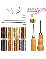 NACTECH 21pcs Kit Hilo Encerado de Cuero 8 Color 240m 150D 1 mm con Agujas de Coser Recta y Curva Herramienta Costura a Mano para Reparación Trabajar Cuero Lonas Manualidades