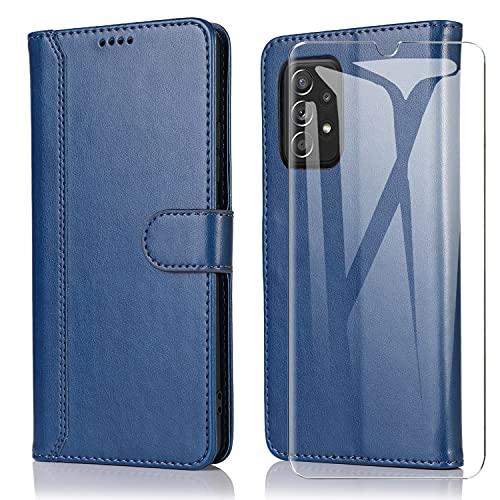 SMYTU Custodia per Samsung Galaxy A52 + Vetro Temperato,Cover a Libro Samsung Galaxy A52,Custodia Flip in Pelle Magnetica Portafoglio per Samsung Galaxy A52 (F-Blu)