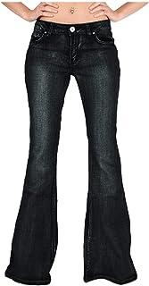 AOGOTO Pantaloni da donna Curvy High Rise Bootcut Classic Jeans Button Denim Straight Boyfriend con tasca nascosta