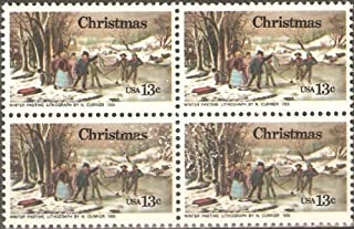 USA Collectible Postage Stamps: 1976 Christmas Issue. Currier Print. Block of Four
