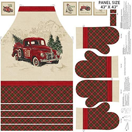 Vintage Christmas Apron 36' x 43' Panel by Northcott Fabrics Quilting Cotton Fabric Sold by Panel
